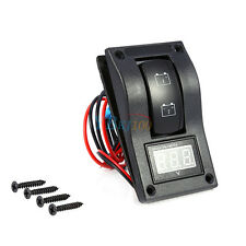 12V DC Marine Boat Voltmeter LED Dual Battery Test Panel Rocker Switch ON-OFF-ON