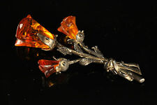Natural Antique 6.23gr Butterscotch Carved Baltic Amber stone Silver Brooch A567