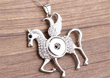 NEW Horse Crystal Alloy Pendant for Fit Noosa Necklace Snap Chunk Button NR111