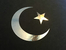 Chrome Star and Crescent Moon ~ Islamic Muslim Symbol Vinyl Decal Sticker 3.5""
