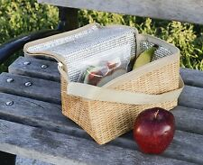 Kikkerland Wicker Print Soft Lunch Box Insulted Picnic Style Work Snack Bag