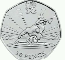 LONDON SUMMER OLYMPIC 2012 29/29 WRESTLING 50P COIN 2011 FIFTY PENCE e