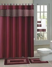 Fresco Burgundy 15-Piece Bathroom Accessory Set 2 Bath Mats Shower Curtain