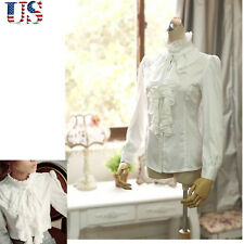 US - New Luxury Victorian Tops Women Shirt Ruffle Flounce Ladies Blouse White M