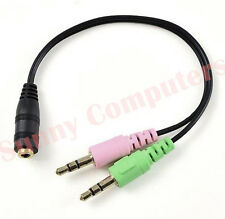 3.5mm Male to Headset Female Mic Microphone Audio Splitter Cable Adapter Laptop