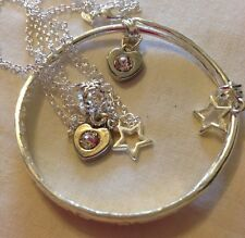 """16"""" Sterling Sil Chain&925stamped Bangle/Crystal&silver+star//Boxed."""