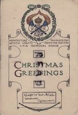 WW1 Xmas Greetings Card 1919 GHQ Technical College Captain Fish Siegburg Germany