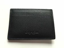 NWT Authentic COACH CALF LEATHER MONEY CLIP CARD CASE F75459 BLACK $95.00