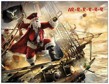 20 CHRISTMAS Swashbuckling Pirate SANTA Ship Flat CARDS Envelopes Seals