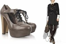MARNI SHOES PLATFORM LACE UP PUMP BOOTIES DERBY GRAY LEATHER WOODEN HEELS 38 7.5