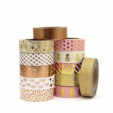 Washi Tape Set Rose Gold Foil Pink Pineapples Flowers Hearts Copper 12 x 10m