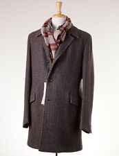 NWT $1795 BOGLIOLI Brown Woven Wool-Camel-Cashmere Overcoat Eu 54 (fits US 42 R)