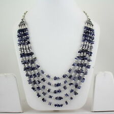 NATURAL CHIPS IOLITE GEMSTONE 925 SILVER OVERLAY BEADED NECKLACE 71 GRAMS