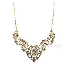 1Pc Aulic Exaggerated Necklace Delicate Hollowed-out Floral Design Jewelry