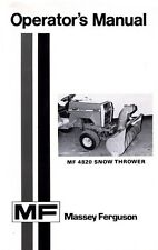 Massey Ferguson MF 4820 MF4820 Snow Thrower Operators Manual