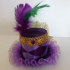 Carnival Purple Harlequin Mardi Gras mini top hat fascinator