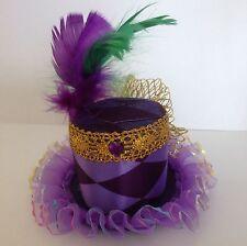 Carnival Purple Harlequin Mardi Gras mini top hat fascinator