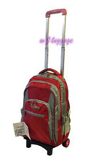 Rolling Wheeled Backpacks Carry-ons Trolley School Bag Laptop Backpack (Red)