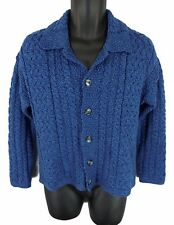 Arancrafts Irish Merino Wool Sweater Small Blue Thick Cable Knit Aran Fishing
