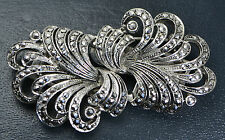 1959 Sterling Silver & Marcasite DUETTE 2x DRESS CLIPS on Removable Frame BROOCH