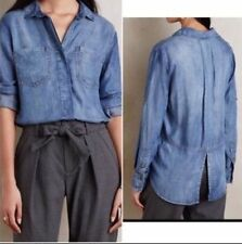 NEW Anthropologie Cloth & Stone Blue Split Back Button Down Chambray Shirt Top S