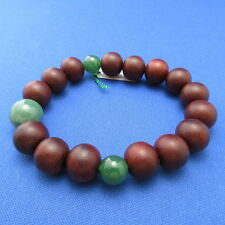 Rosewood & Indian Green Jade Japanese Juzu Bracelet Rosary Prayer beads Kyoto