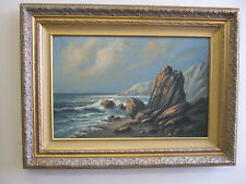 """California Shore"" old oil on canvas,antique painting by W.A.Carson american"