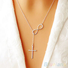 Women Stylish 8 Shaped Choker Collar Statement Cross Pendant Necklace Jewelry