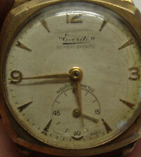 Vintage 9ct gold gents wristwatch marked EVERITE SUPER SPORTS