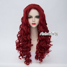 Lolita 31 Inches Wine Red Curly Women Girls Heat Resistant Cosplay Wig + Cap