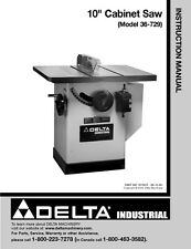 "Delta 36-729 10"" Cabinet Saw Instruction Manual"