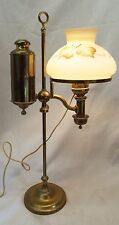 Old C.F.A. HINRICHS New York Brass Electrified Oil STUDENT LAMP w/ Shade WORKS