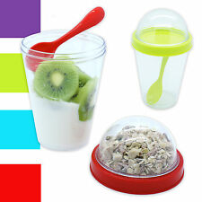 4 x Tarrina de Yogur + Cuchara + Caja Muesli Tazón cereales Taza para llevar