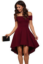 Burgundy Hi Low Off Shoulder Skater Dress Club Party Summer Wear Size UK 8-10
