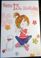 Happy 13th Birthday Card. Girl & Cat theme by Heartstrings, 24 available.