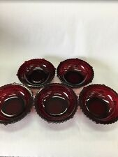 """5 Cape Cod Ruby Red Glass by Avon - Dessert Berry Fruit Bowls 5"""" 1/4"""" X 1 3/4"""""""