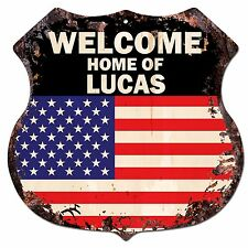 BP0519 WELCOME HOME OF LUCAS Family Name Shield Chic Sign Home Decor Gift