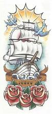SHIP SAILS ROSES BLUE BIRDS New design very large sleeve, arm Temporary Tattoo