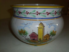 """Vietri Italy Pottery - 9.5"""" wide 8"""" tall flower Pot hand made/painted by V.pinto"""