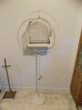 "Vintage Iron/Steel Bird Cage & Stand, 65"" Tall"
