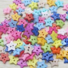 100Pcs Baby Kids Mixed Resin Pentagram Star Button Sewing DIY Scrapbooking Craft