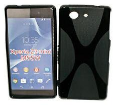 X-Rubber Silikon TPU Cover Schwarz + Displayschutzfolie f Sony Xperia Z3 Compact