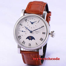 42mm parnis white dial roman number GMT hand winding movement mens wristwatch 60