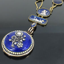 Antique 1.25ct Rose Cut Diamond Pearl & Enamel 14K Gold Cherub Locket Necklace