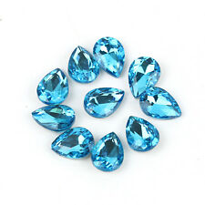 10pcs Mix Colors Faceted Teardrop Loose Spacer Beads Glass Crystal Charm Jewelry