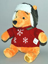 "Disney COZY CABLES POOH Bear 16"" Plush Toy Winnie the Sweater Hat Ear Flaps Bear"