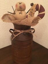 Primitive Christmas Honey and Me Snowman Candy Cane Joy Rusty Milk Can Burlap