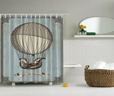Vintage Old Gas Balloon Graphic Shower Curtain Boat Shape Rustic Bath Curtain