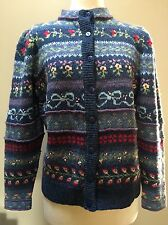 Susan Bristol Sweater Cardigan Sz M Shades of Blue Wool Floral Hand Embroidered