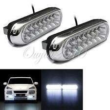 2x 16 LED Car Van DRL Day Driving Daytime Running Fog White Light Lamp Bulb